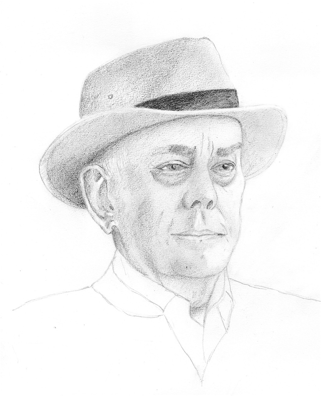 Sketch of Bryan in a hat