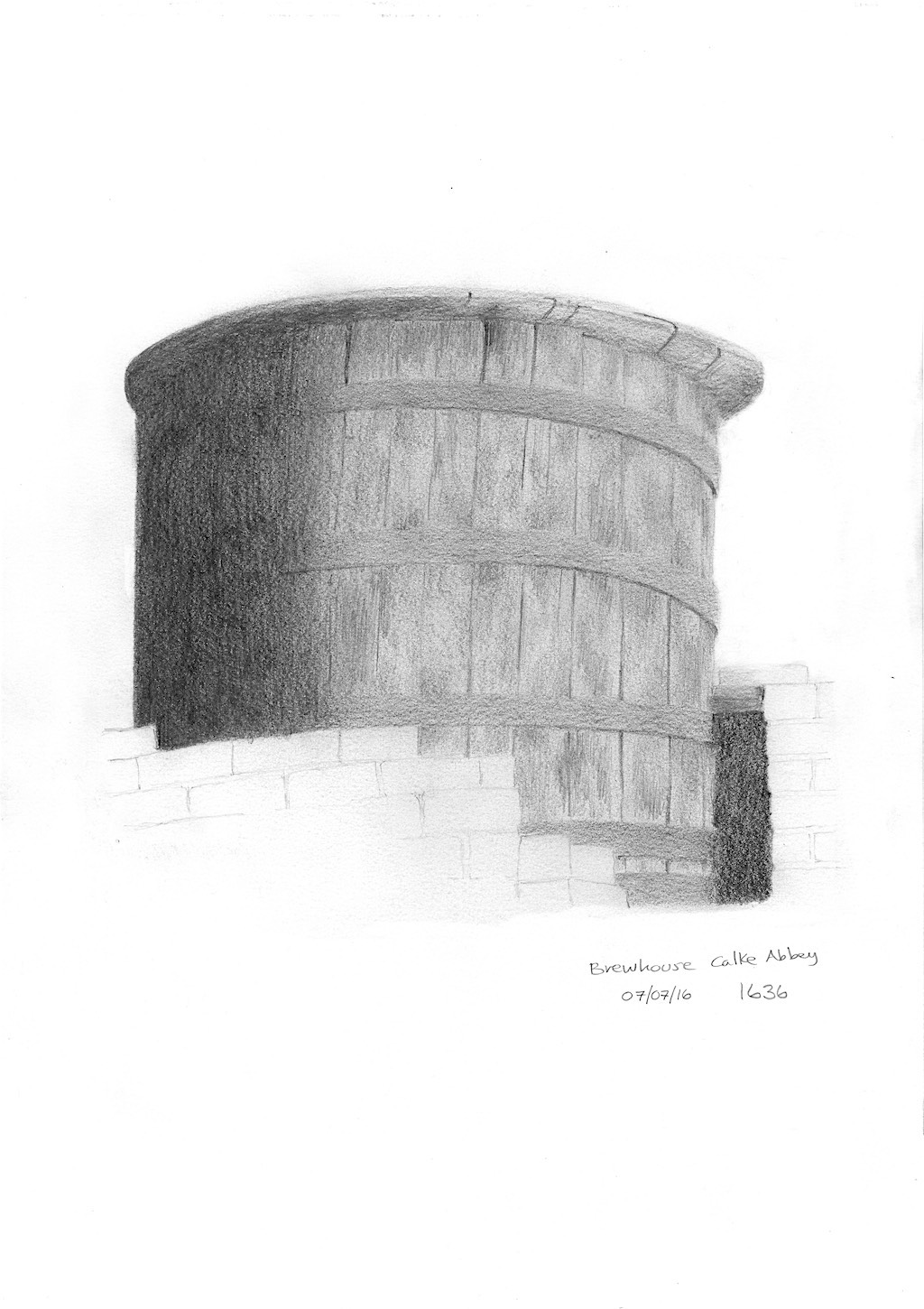 Sketch of Brewhouse brew barrel at Calke Abbey
